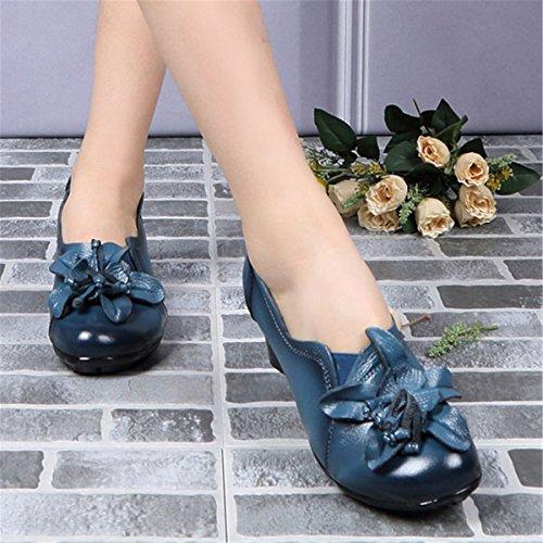 Da Con Fiore Pelle In a Effetto A Vintage Stile Socofy Blau Pelle Tacco Donna Scarpe 5IxX8X