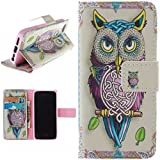 iphone 5s Case, iphone SE Case, WXZipo PU Leather Magnetic Wallet Case with Bookstyle Fold Bracket & Card Pocket Flip Case for iphone 5 /SE /5S Colorful Owl