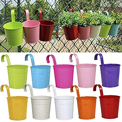 Hanging Flower Pots, Young Go 10 PCS Metal Iron Flower Holders with Drainage Hole Basket Bucket Planters Balcony Garden Patio Planter Wall Fence Hanging Flower Pot with Detachable Hook Home Decor
