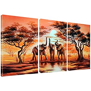 Canvas Wall Art African Elephants Painting Print on Canvas Wall Art 12