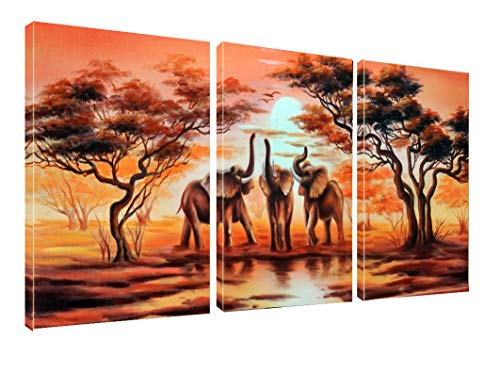 - Canvas Wall Art African Elephants Painting Print on Canvas Wall Art 12