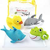Bath Toys – Soft & Educational Bath Toy for Baby & Toddlers – Use In or Out of Tub – BONUS Mesh Bath Toy Storage Bag with Suctions for Easy Drying- No Mold Bath Toy