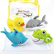 Bath Toys - Soft & Educational Bath Toy for Baby & Toddlers - Use In or Out of Tub - BONUS Mesh Bath Toy Storage Bag with Suctions for Easy Drying- No Mold Bath Toy