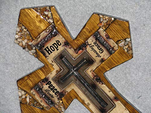 decorative wall crosses, home wall decor, handmade crosses, one of kind cross, Hope