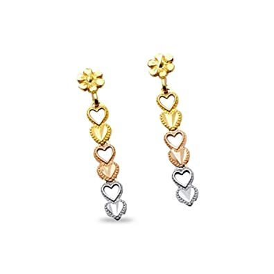 95dc379ff Amazon.com: 14k Yellow White Rose Gold Hearts Dangle Earrings with ...