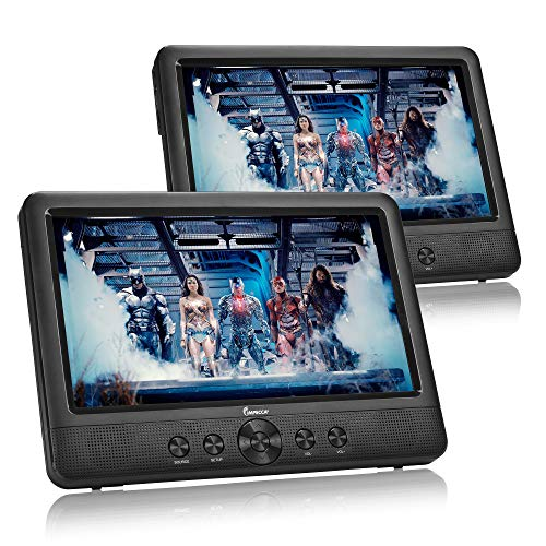 IMPECCA DVD Player, Portable 10.1 Dual Screen DVD Player for Car Headrest or Home with USB/SD Card Reader, Built in Rechargeable Battery, Last Memory Function, Two Screens Play One Movie