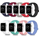 DOBSTFY Compatible for iWatch Sport Band 38mm 42mm, Soft Silicone Replacement iWatch Bands Strap Sport Band Compatible for Series 4 3 2 1 Nike+ Edition 2 1 Nike+ Edition, S/M M/L, 9PACK, 38mm M/L