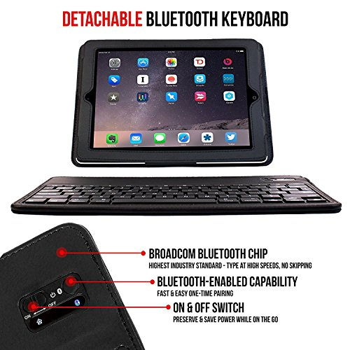 iPad Leather Bluetooth iPad Smart w/Removable Wireless Keyboard, Protection Built-in Stand iPad Mini 4, 3, 2, 1 - Black