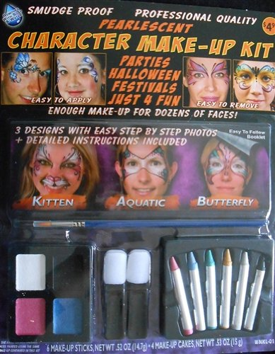 (Pearlescent Shiny Face Paint Character Make-up Kit Animals Kitten, Butterfly and)