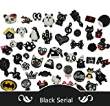 AMOBESTER 50PSC Hard Resin Cabochons Flatback Resin Embellishments Black Serial
