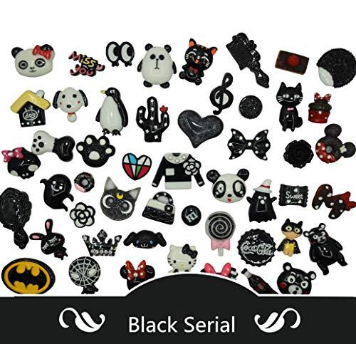 AMOBESTER 50PSC Hard Resin Cabochons Flatback Resin Embellishments Black Serial