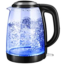 Electric Kettle - Habor Glass Water Boiler Fast Boiling Tea Kettle (1.8L) with Blue LED Illumination, Stainless Steel Finish