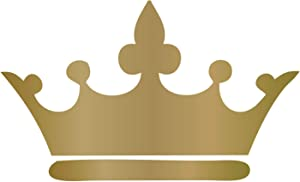 Princess Crown Wall Decal - 25in x 15in Metallic Gold Vinyl Decorative Sticker for Woman's or Girl's Room | Kids Royalty Theme Playroom or Baby Nursery Decor |