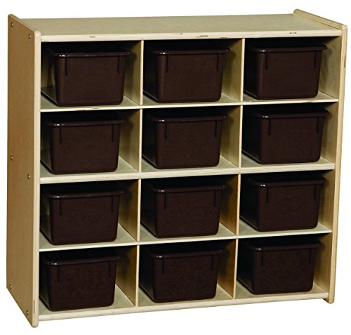 Baltic Birch 12 Cubby Storage (Contender C16122 Baltic Birch 12-Cubby Storage Unit with Chocolate Tubs, RTA (Pack of 12))