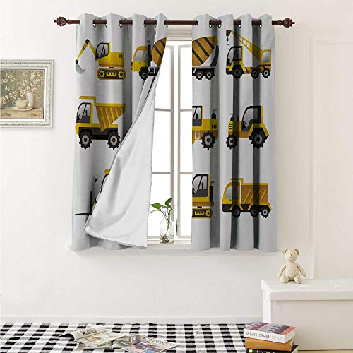 (Construction Thermal Insulating Blackout Curtain Big Vehicles Icon Collection Engineering Building Theme Clip Art Style Curtains Girls Room W55 x L39 Inch Yellow Grey)