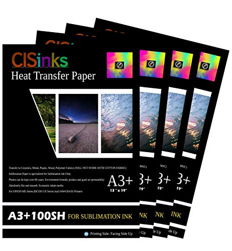 CISinks 400 Sheets A3+ 13'' x 19'' Inch 100gsm Thick Sublimation Inkjet Heat Transfer Paper by CIS Inks (Image #1)
