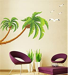 DGI Mart Coconut Tree Large Palm Tree Seagull Removable Wall Decal Sticker