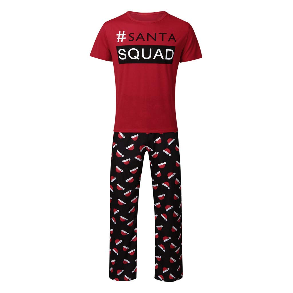 Wave 166/® Christmas Outfits For Family KIDS SANTA SQUAD Letter Print Top MOM Patterned Trousers 2Pcs Set Parent-Child Pajamas Family Pajama Matching Set For DAD