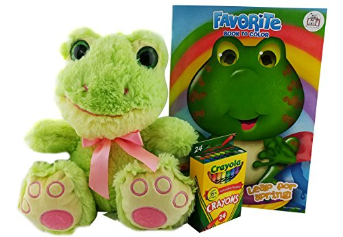 Plush Bigfoot Frog Stuffed Animal Gift Bundle and Spring Coloring Book for kids with Crayons -