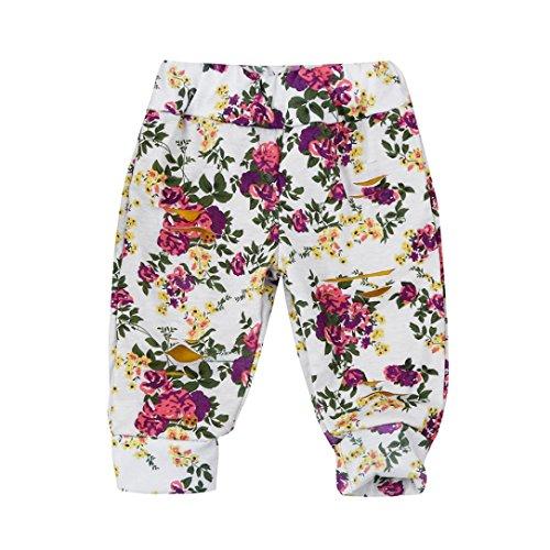Binmer(TM) Toddler Baby Boys Girls Two-Double Hole Flowers Print Pants Leggings (12M, White)