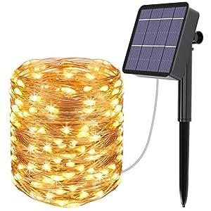 AICase Catena Luminosa Solare da Esterno, 22m 200 LED Stringa Luci Solari Impermeabile IP67 per Decorazione Giardino, Camera da Letto, Matrimonio, Albero di Natale (Bianco Caldo) 4 spesavip