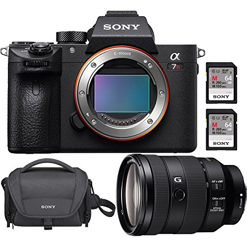 Sony a7R III 42.4MP Full-Frame Mirrorless Interchangeable Lens Camera Body (ILCE7RM3/B) w/Sony FE 24-105mm F4 G OSS Lens + Sony 64GB UHS-II SD Memory Card + Sony Soft Carrying Case a7RIII Bundle