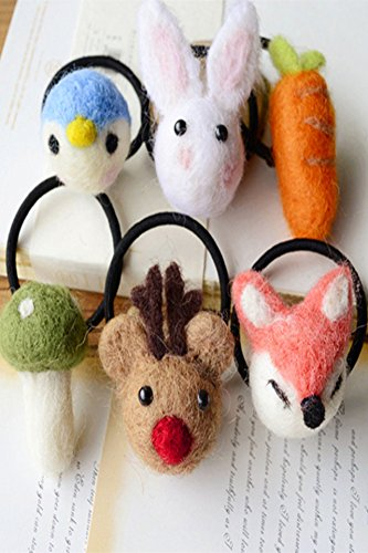 Generic Eisen deer rabbit wool felt cute animal fox Christmas gift hair rope hair ring Tousheng by Generic