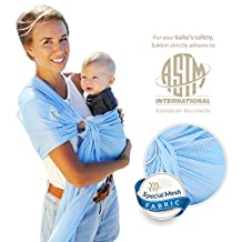 Baby Sling, LIGHT & COMFY. #1 Adjustable Shoulder Ring Sling Carrier - Quick-dry, BREATHABLE, Soft, MESH, Strong Fabric, INFANT TO TODDLER BABY CARRIER. Use all yr round & Perfect for HOT Summers/ Beach Weather. SUKKIRi-Navy Blue