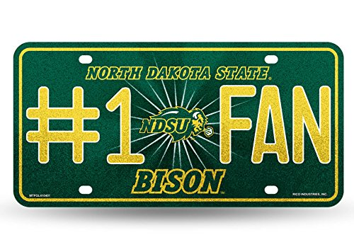 Rico NCAA North Dakota State Bison Bling #1 Fan Metal Auto Tag Plate, 12 x 6-Inch, Silver ()