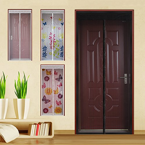 WYZworks (Black) Magnetic Mesh Hands-Free Lace Screen Door (Various Designs Available)