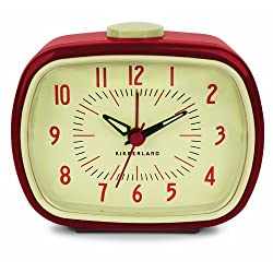 Kikkerland Retro Alarm Clock, Red