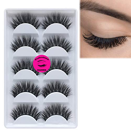 5 Pairs 3D Mink Lashes Strip Dramatic Look Fake Eyelashes - DAODER Thick Volume Fluffy Long Faux Mink Eyelashes Reusable False Eyelashes - Full Faux Eyelashes