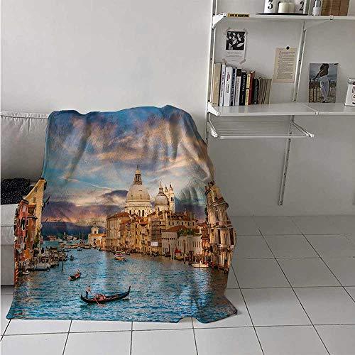 maisi Venice Custom Design Cozy Flannel Blanket Gondola on Famous Canal Grande with Basilica di Santa Maria Della Salute in Evening Lightweight Blanket Extra Big 70x60 Inch Blue Cream