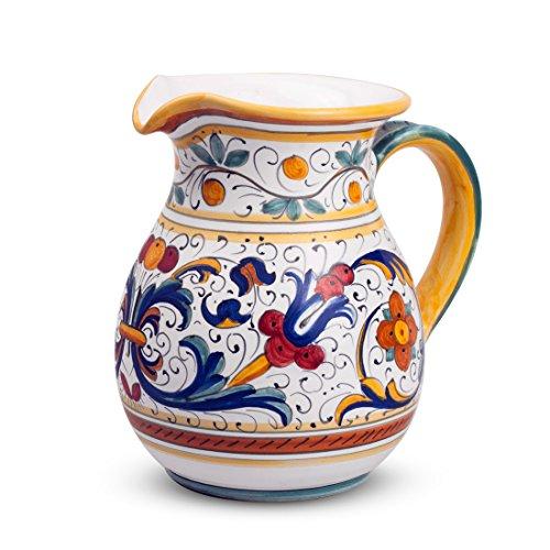 - MICHELANGELO Ceramic Handpainted Italy Art & Crafts Pottery - Medium Pitcher, Ricco Deruta decoration, in Ceramic 13x18.5 H16 cm (BLUE)