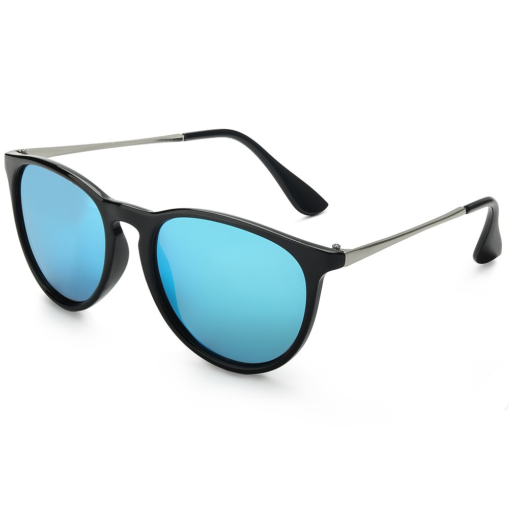 WELUK Wayfarer Sunglasses Polarized Women Men 60mm Round Retro Large Lens (Black & Blue, 60)