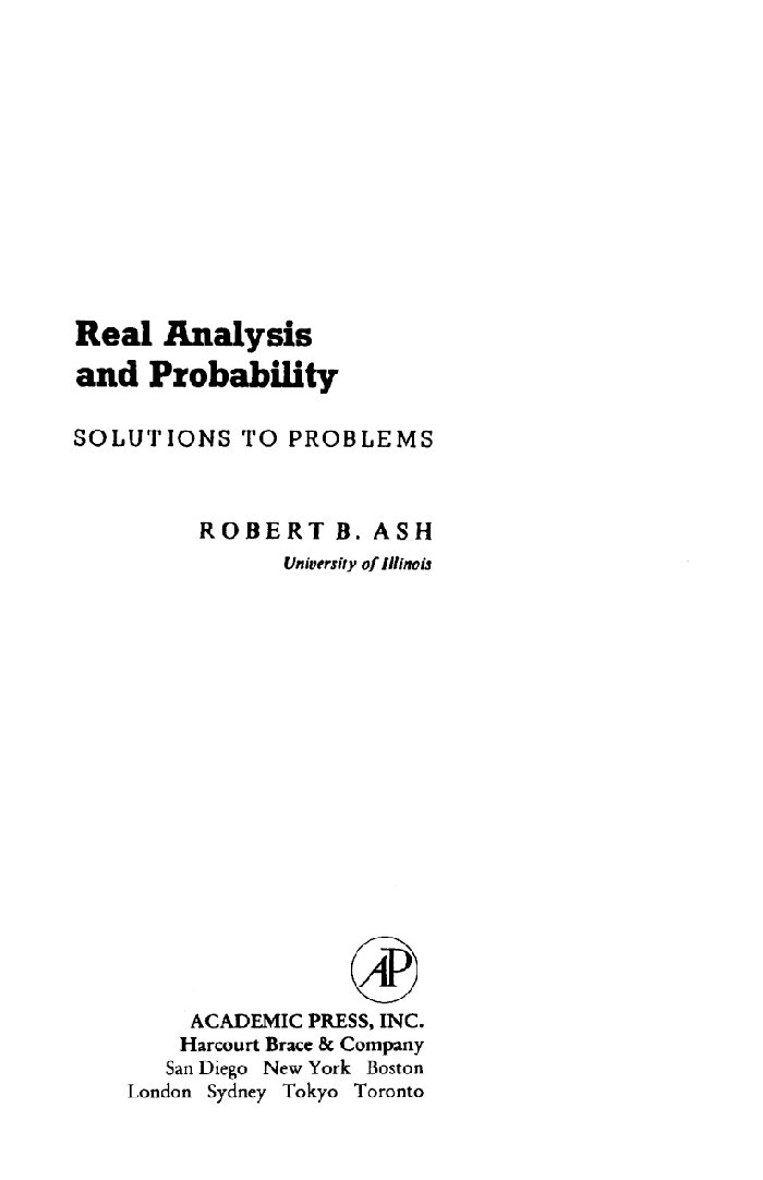 Real Analysis and Probability: Solutions to Problems (Probability and  Mathematical Statistics Ser ) See more