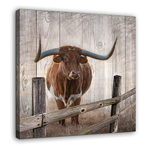 Rustic Wall Decor Canvas Wall Art of Texas Longhorns for Bathroom Bedroom Wall Decoration Animal Country Farmhouse Themed Print Picture Artwork Ready to Hang for Kitchen Rustic Home Decor Size 14x14 from LPWart