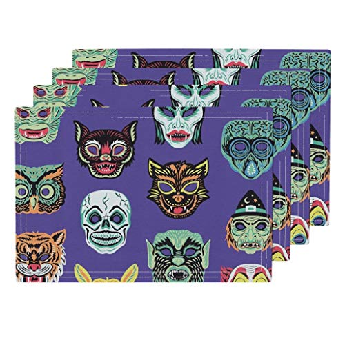 Roostery Masks 4pc Linen Cotton Canvas Cloth Placemat Set - Owl Clown Tiger Skull Cat Tiger Witch Halloween Vintage Retro Masks Creepy Costume Face by Pinkowlet (Set of 4) 13 x 19in ()