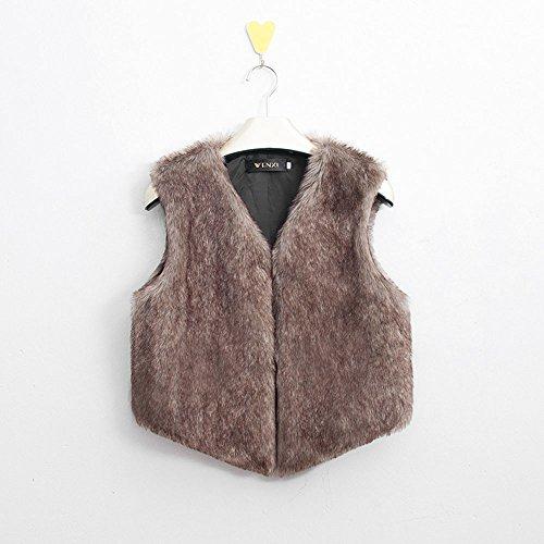 À Gilet Femmes Longs Manches Pour veste Fur Poils Manteau Sans Faux Marron gilet SSwv0gq