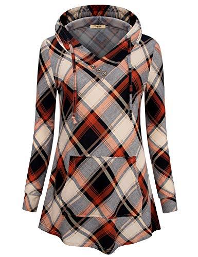 Timeson Tunics Sweater for Women Junior Pullover Shirts Casual V Neck Swing Sweatshirts Flowy Plaid Hoodies Shirts Drawstring Pocket Shirts for Leggings Brown Black Medium