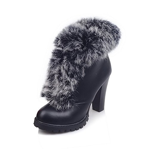 A&N Womens Chunky Heels Fur Collar Lace-Up Imitated Leather Boots Black