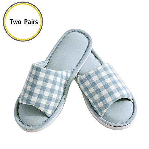 Lanker Comfort Cotton Slippers Washable Flat Closed Toe Ultra Lightweight Indoor Shoes with Non-Slip Sole Two Pairs KJ55XL Blue Blue dBLiHE