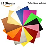 "Arts & Crafts : Heat Transfer Vinyl Assorted Colors 12 Sheets 12""x 10"" Heat Transfer Bundle Iron on HTV for T Shirts, Hats, Clothing Heavy Duty Vinyl for Silhouette Cameo, Cricut or Heat Press Machine Tool"