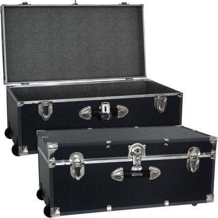 - Mercury Luggage Seward Trunk Wheeled Storage Footlocker, 30