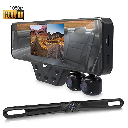 Pyle Newest Technology HD 3 Camera Dash Cam Rearview Mirror Backup Camera Mirror Cam Front and Rear Recording Video Recording System Hd Camera Record Kit, 1080p Night Vision, Easy Install (PLCMDVR54) from Pyle