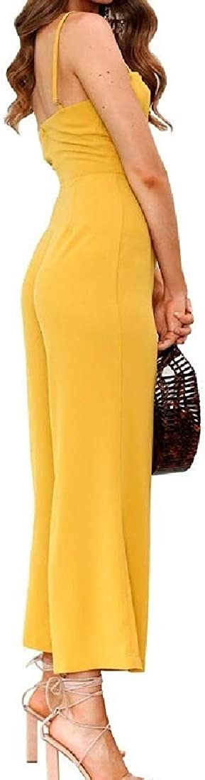 Fieer Womens Sling Wide Legs Candy Color Back Hollowed Pants Set Jumpsuit