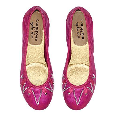 Cocorose Foldable Shoes - Ballet Pumps - Samples! Fuchsia Beaded kJq4eT