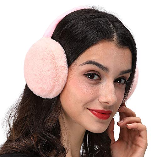LETHMIK Faux Fur Ear Warmers,Outdoor Foldable Winter Earmuffs Womens&Mens Earlap Warm Ear Protection Pink