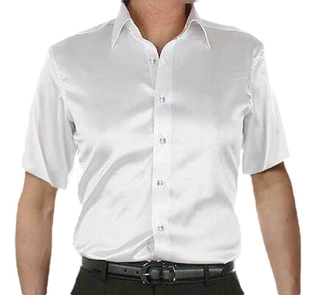 Etecredpow Mens Short Sleeve Button Down Silk Casual Wrinkle Free Shirt