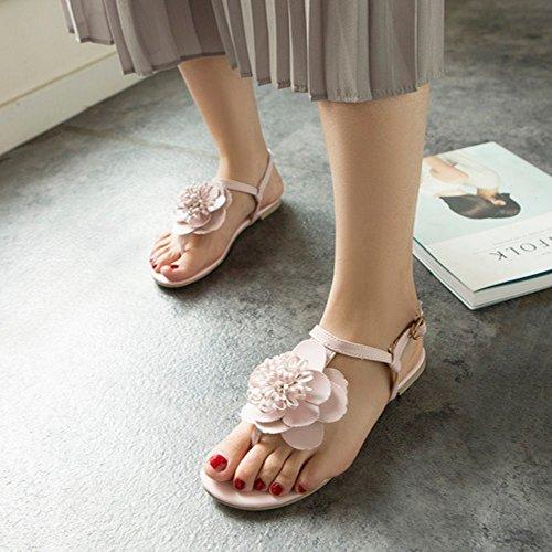 Damenmode COOLCEPT Slingback Rosa Blume Mit Schuhe Flache Knöchelriemen Sandalen Pdqwdr